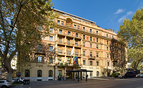 The prestigious hotel Royal Group in a historical building in Rome.