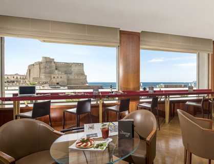 Lounge bar of the panoramic hotel in Naples.